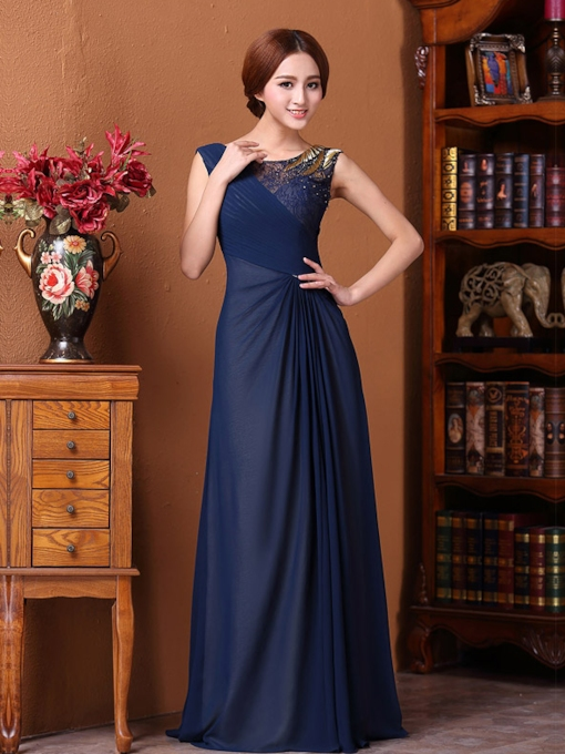 A-line Inregular Splice Bateau Floor-Length Evening Dress