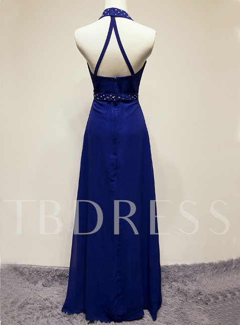 A-line Halter Rhinestone Floor-Length Evening/Prom Dress