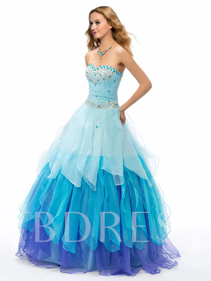 Beaded Sweetheart Tiered Organza Ruffles Quinceanera Dress