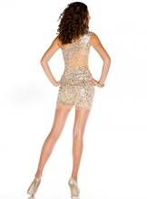 One Shoulder Sequins Short Sheath Cocktail Dress