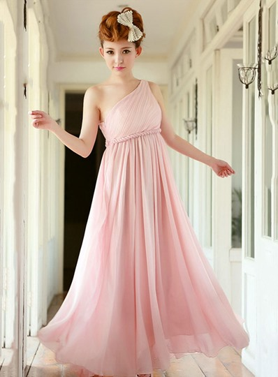 A-Line One Shoulder Empire Bridesmaid Dress