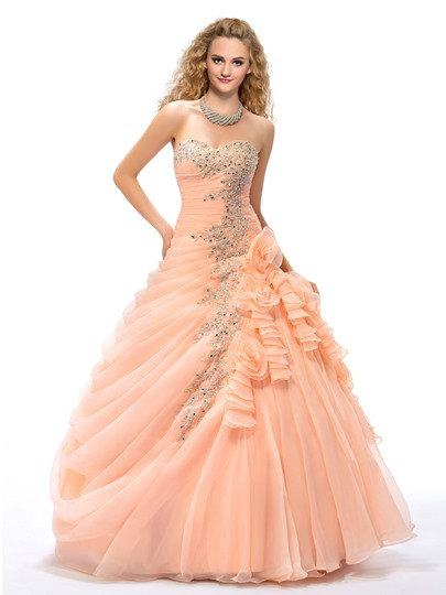 Ball Gown Appliques Flowers Quinceanera Dress