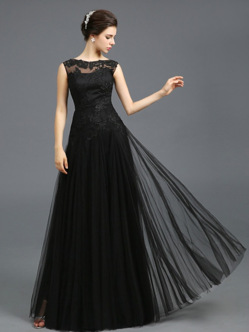 A-Line Bateau Neck Sleeveless Appliques Floor-Length Evening Dress