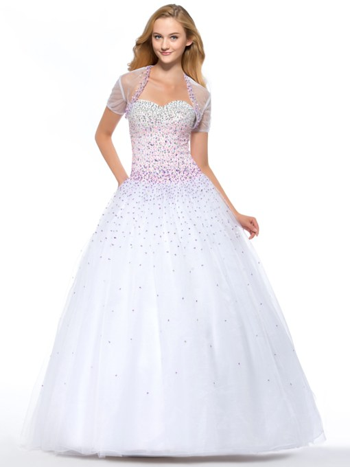 Ball Gown Floor-Length Beading Quinceanera Dress