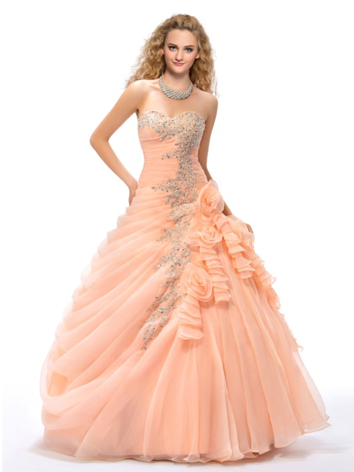 Appliques Flowers Ball Gown Quinceanera Dress