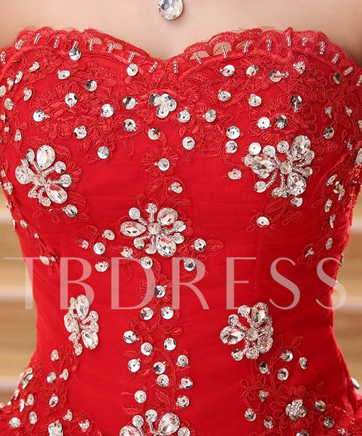 Beaded Appliques Red Wedding Dress with Train