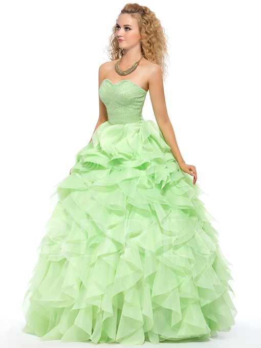 Pure Color A-line Sweetheart Neckline Floor-Length Quinceanera Dress
