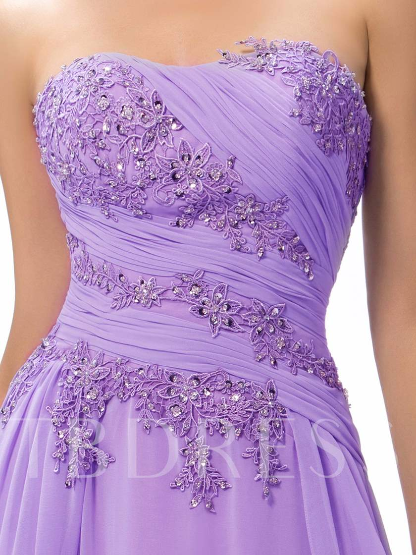 Sweetheart Appliques Ruched Floor-Length Evening/Prom Dress