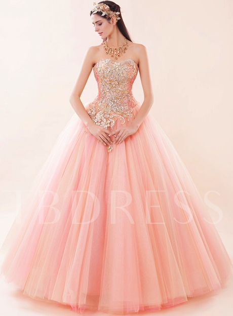 Sweetheart Rhinestone Appliques Ball Gown Quinceanera Dress