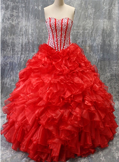 Sparkly A-line Sweetheart Beaded Organza Quinceanera Dresses