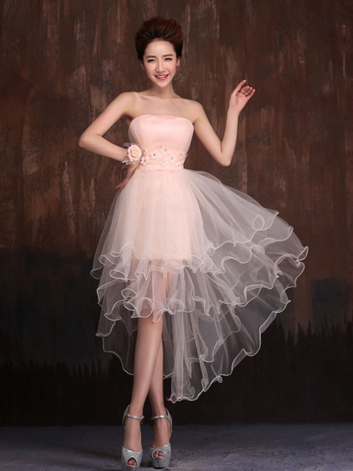 A-Line Strapless Flower Ruffles Bridesmaid Dress