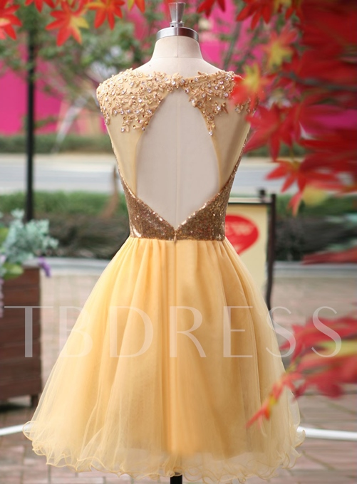 Gold A-Line Mini Length Tulle Cocktail Dresses