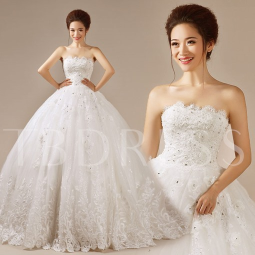 Ball Gown Strapless Lace-Up Brush Train Wedding Dress