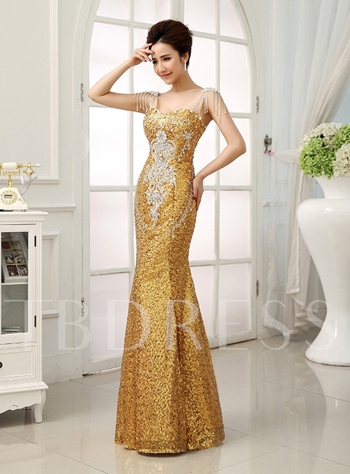 Straps Sequins Mermaid Floor-Length Evening Dresses