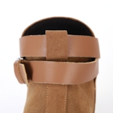 Solid Color Buckle Chunky Heel Short Boots