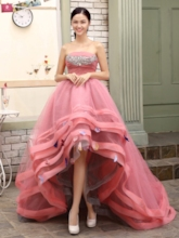 A-line Strapless Beadings High-Low Quinceanera Dress