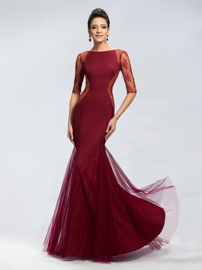 Trumpet Tulle Zipper-Up Evening Dress