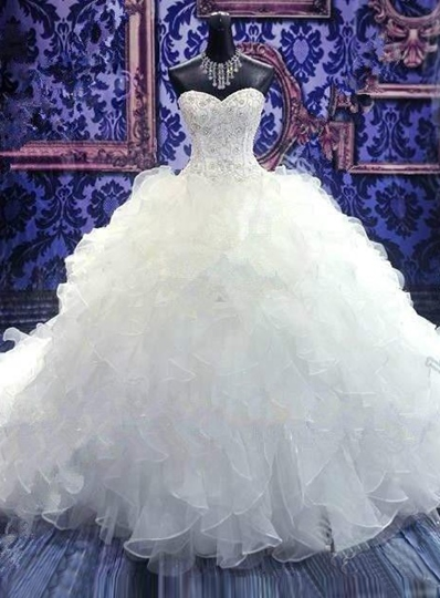 Gorgeus Ball Gown Ruffles Embroidery Chapel Train Bridal Gown