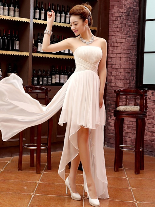 Strapless Asymmetry Empire Pleats Beach Bridesmaid Dress