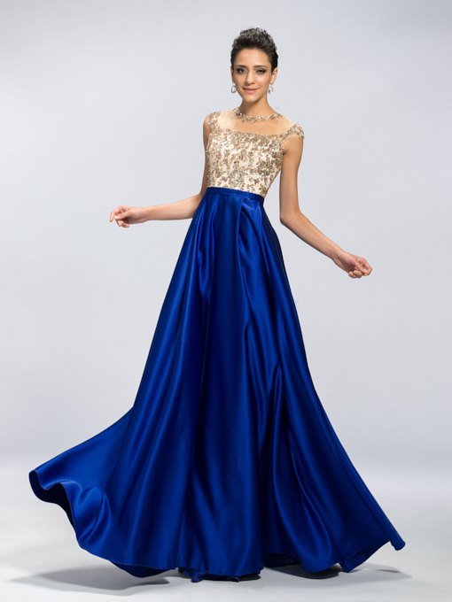 Jewel Neck Sequins Appliques Prom Dress