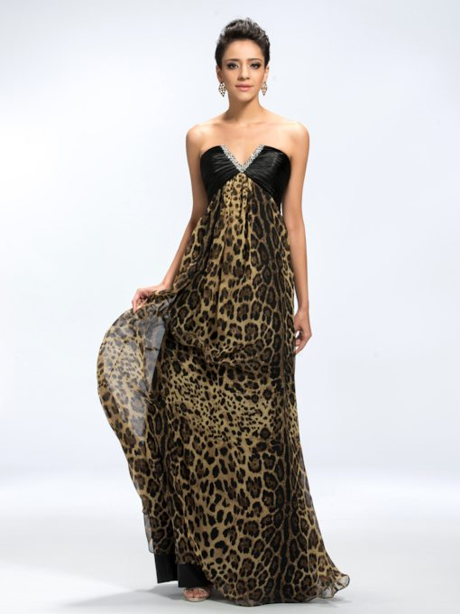 V-Neck Sequins Beading Leopard Print Evening Dress