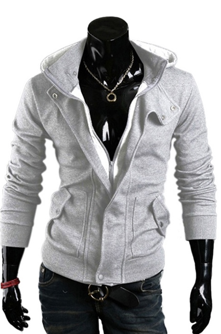 Light Gray Lapel Zip-Front Men's Hoodie