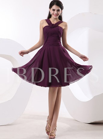 A-Line V-Neck Pleats Ruched Bridesmaid Dress