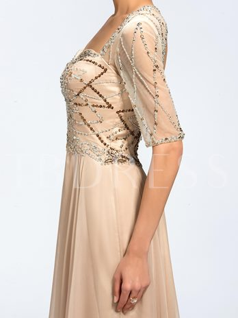 Beaded Backless Mother of the Bride Dress with Half Sleeve