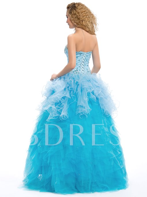 Sweetheart Beading Lace-Up Floor-Length Quinceanera Dress