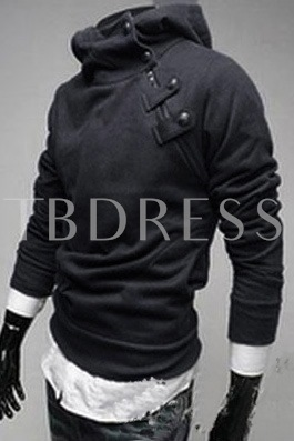White Stand Collar Long Sleeve Men's Hoodie
