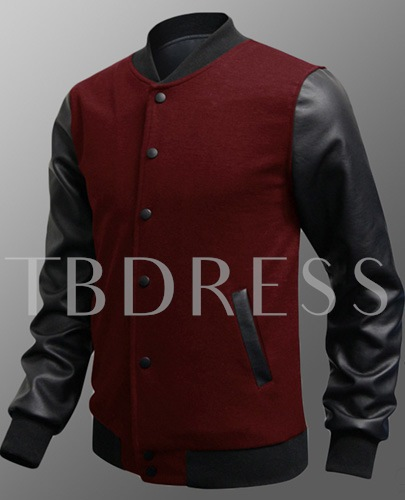 Patchwork Stand-Collar Single-Breasted Men's Jacket