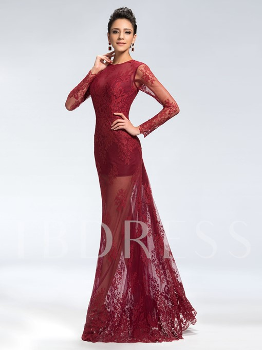Lace Jewel Trumpet Zipper-Up Evening Dress