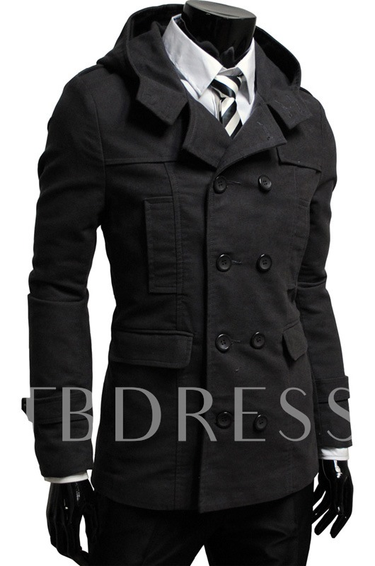 Brown Lapel Double-Breasted Man's Overcoat