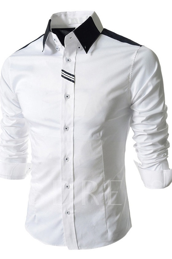 Solid Color Lapel Single-Breasted Men's Shirt
