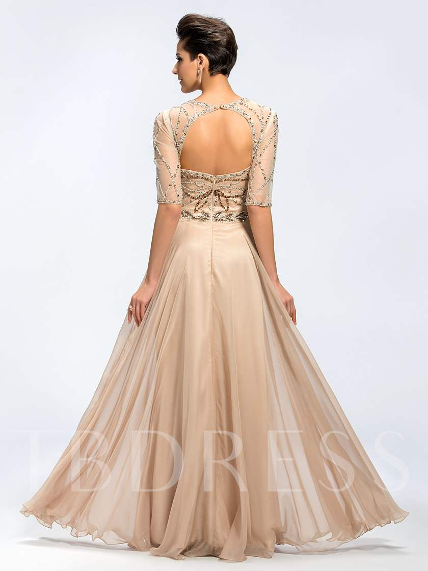 Backless Beading Half Sleeve Mother of the Bride Dress