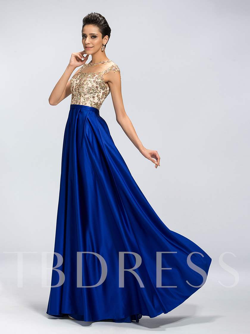 A-Line Beading Applique Zipper-Up Floor Length Evening/Prom Dress