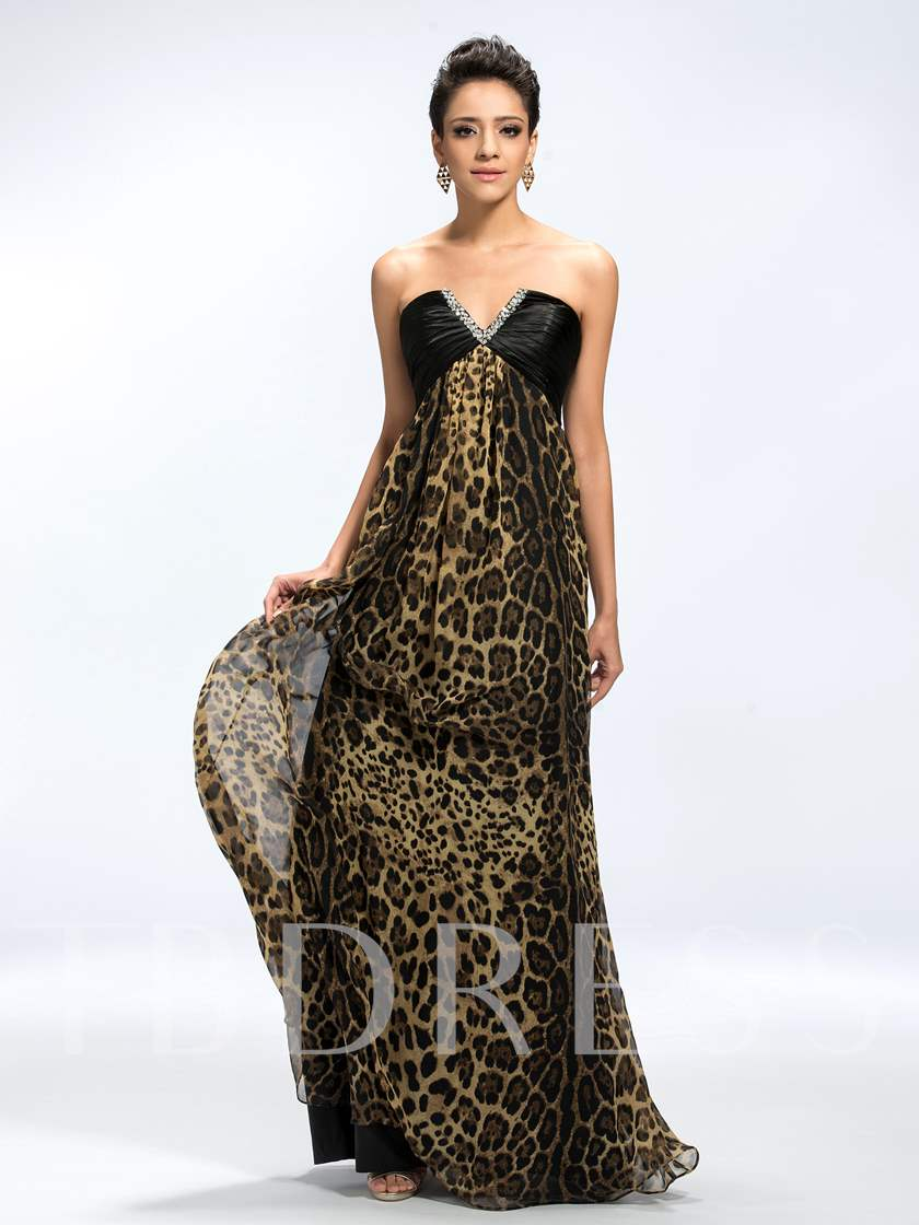 V-Neck Sequins Beading Leopard Print Evening Dress - Tbdress.com