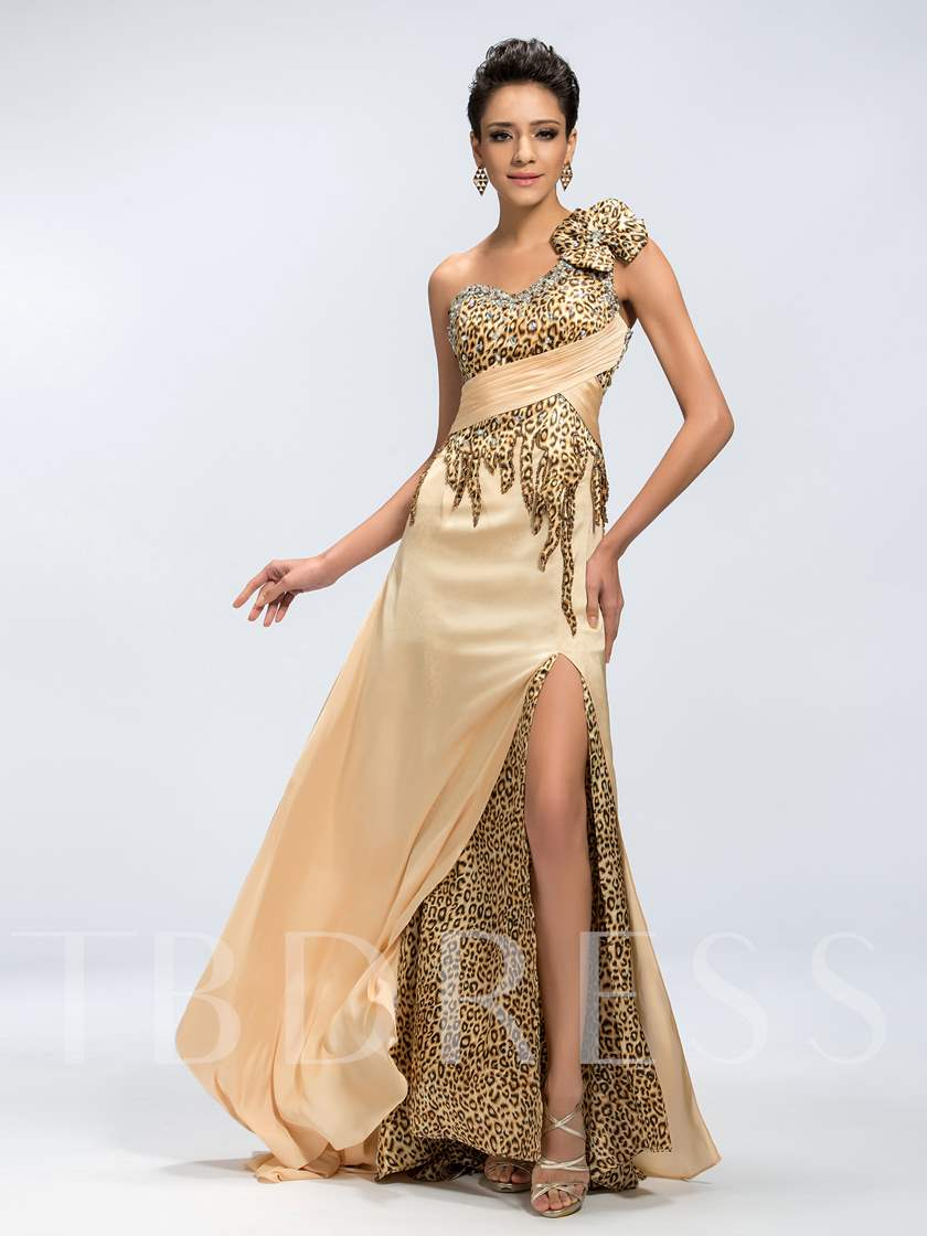One-Shoulder A-Line Beadings Leopard Split-Front Long Evening Dress