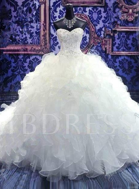 Cascading Ruffles Beading Ball Gown Wedding Dress - Tbdress.com