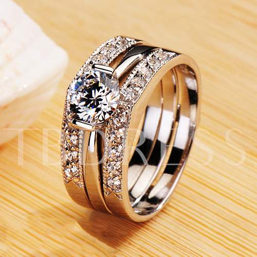 Classical Three Parts Formed Diamond-Shaped Wedding Ring Set