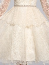 Long Sleeves Knee-Length Tiered Homecoming Dress