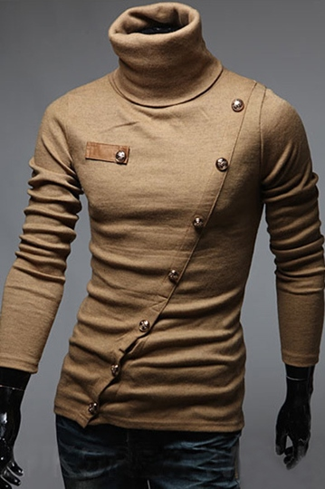 Turtleneck Inclined Button Slim Fit Long Sleeve Men's Hoodie