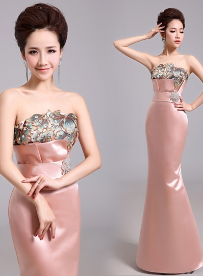 Mermaid Strapless Printing Rhinestone Evening Dress