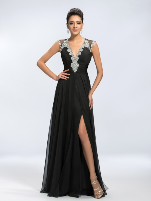 Backless Deep V-Neck Beading Split-Front A-Line Long Evening Dress