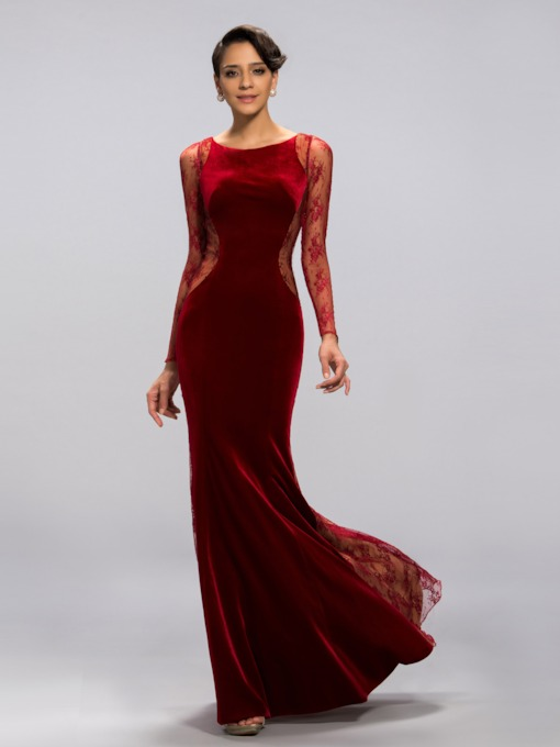 Mermaid Velvet Jewel Neck Lace Long Sleeves Evening Dress