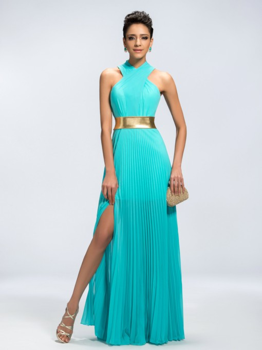 A-Line Halter Split Front Zipper-up Long Evening Dress