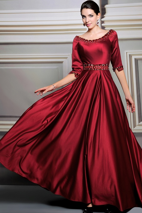 A-Line Scoop Half Sleeves Beading Evening Dress
