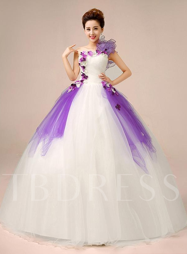 Image of A-line One-Shoulder Flowers Floor-Length Quinceanera Dress