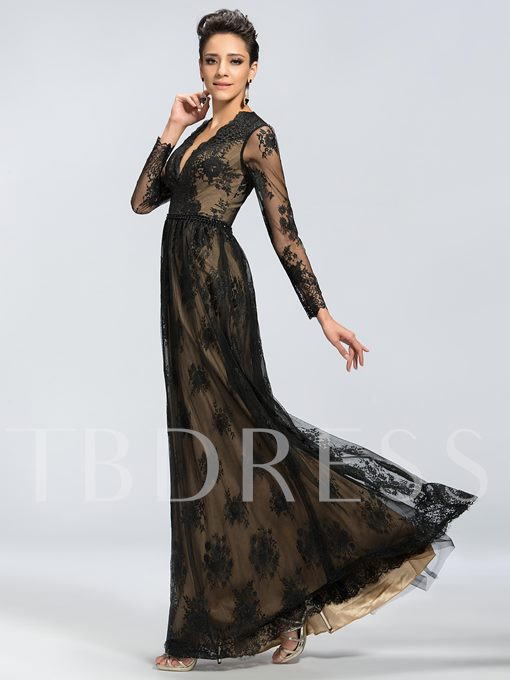 Long Sleeves V-Neck A-Line Lace Mother of the Bride Dress