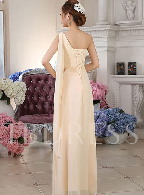 A-Line One Shoulder Flowers Ruched Bridesmaid Dress
